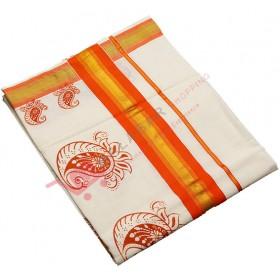Kerala Special Mambazham design Print Kasavu saree