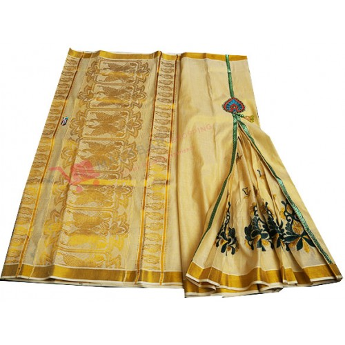 Kerala Special pleats Stiched Kasavu Saree