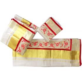 Vishu Special Stones Tissue Kasavu Settu Mundu Blouse