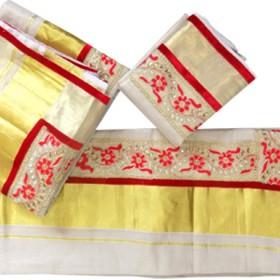 Onam Special Stones Tissue Kasavu Settu Mundu Blouse