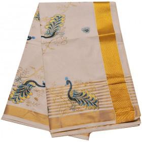 Kerala Special Peacock Embroidery Kasavu Saree