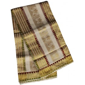 Kerala Temple Design Kasavu Saree