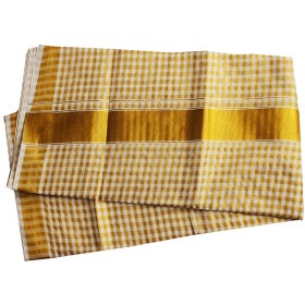 Kerala Tissue Check Kasavu Saree