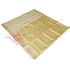 Kerala Kasavu Full Tissue Embossing Saree