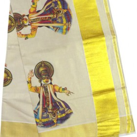 Kerala Traditional Kathakali Tissue Mural Print Kasavu Saree