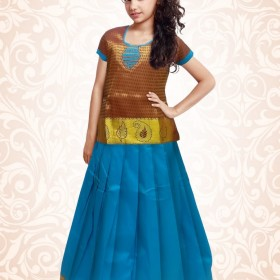 Trendy South Indian Style Pattu Pavadai and Blouse