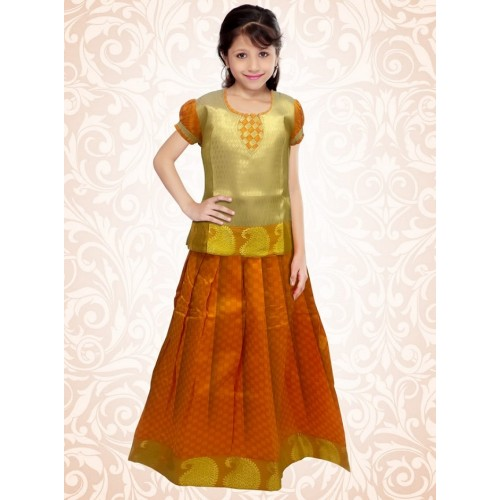 Kerala Trendy Pattu Pavada Orange Brocade