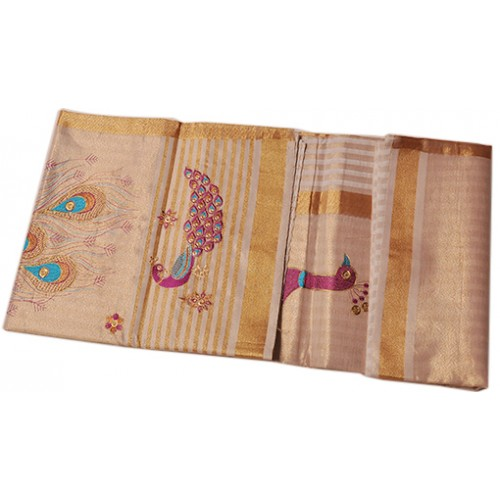 Kerala traditional Peacock emboss with colour fleet Saree