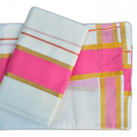 Kerala Traditional Rose Settu Mundu