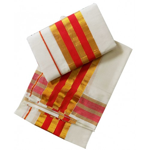 Kerala Red And Golden Border Settu Mundu