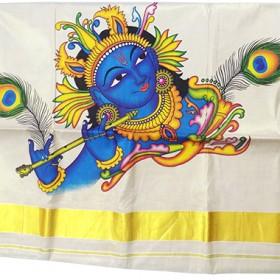 Krishna Mural Print Tissue Kasavu Saree