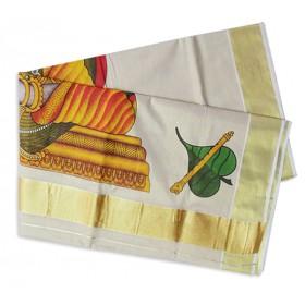 Epic Krishna Mural Kasavu Saree
