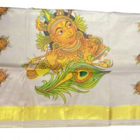 Krishna Mural Printed Kerala Tissue Saree