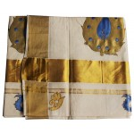 Kuthampully Patch design Kasavu Saree