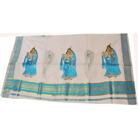 Kerala Traditional Radhakrishna Embroidery Kasavu saree