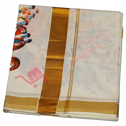 Kuthampully Radham print Kasavu Saree