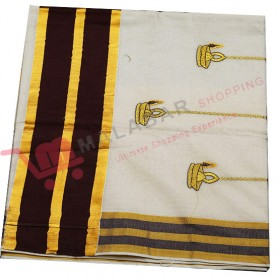 Kuthampully Special Patch Krishna Embroidery Kasavu Saree
