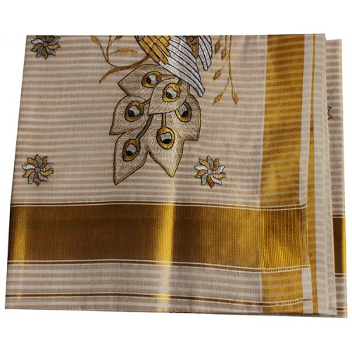 Kerala Traditional Full Striped Embroidery Kasavu Saree