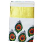 Kerala Mural Print Saree With Peacock Feather