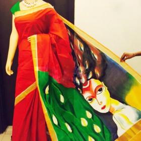 Abstract Hand Painted Kerala Saree