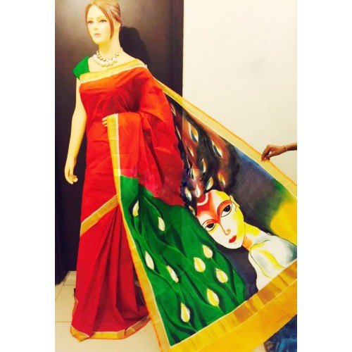 Abstract Hand Painted Kerala Saree