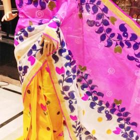 Kasavu Saree Hand Painted Leafy Floral Design