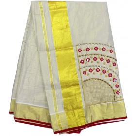 Mirror & Beats Tissue Kasavu Saree