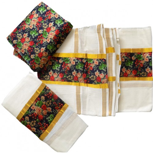 Kerala Brocade Settu Mundu With Blouse - Multi Colour