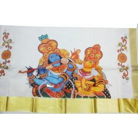 Traditional Mural RadhaKrishna Print Kasavu Saree