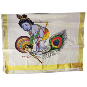 Mural Little Krishna Kasavu Saree