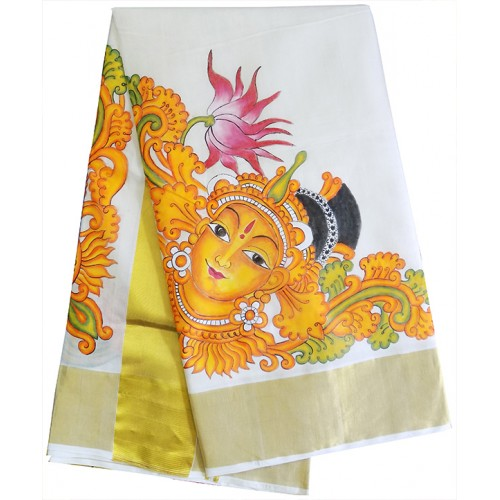 Kerala Kasavu Saree With Devi Mural Painted