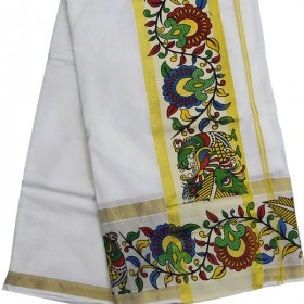 Simple Kerala Natural Design Kasavu saree