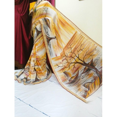 Kerala Settu Saree Hand pinted Nature
