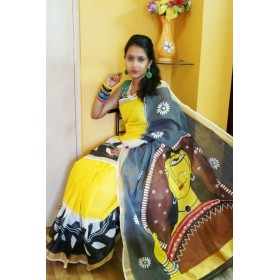 Traditional Theme Handpainted Kasavu Saree