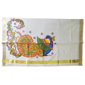 Peacock Mural Print Traditional Kerala Saree