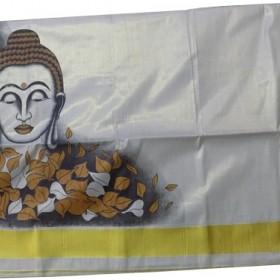 Buddha Printed Kerala Kasavu Saree