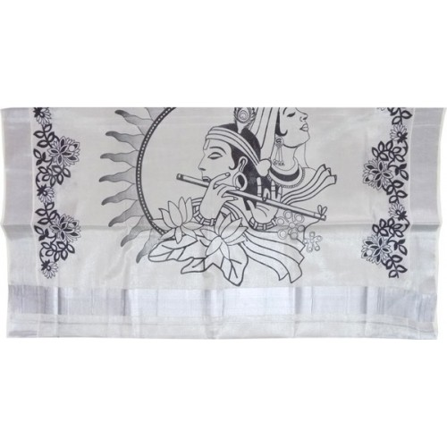 RadhaKrishna Print Silver Tissue Kerala Saree