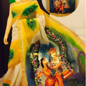 Radha Krishna Hand Painted Kerala Saree