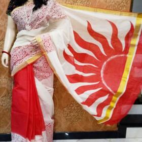 Rising Sun Hand Painted Kerala Saree
