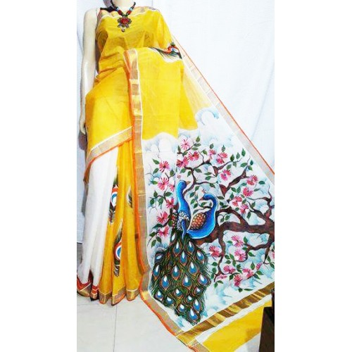 Romantic Peacock Hand Painted Kerala Saree