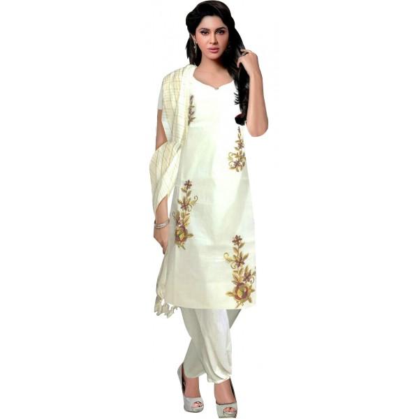 Buy simple embroidery kasavu churidar