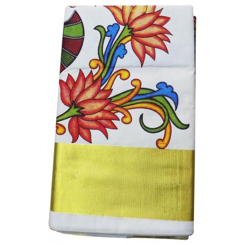 Special Traditional Mural Print Kasavu Saree