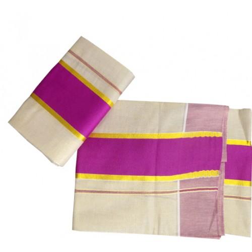 Tissue Settu Mundu With Pink Border