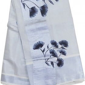 Tissue Silver Flower Paint Kasavu Saree