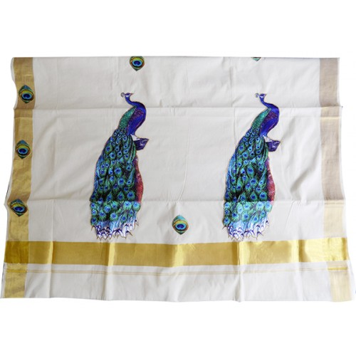 Kerala Settu Saree With Peacock Patch Work