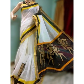 Vector Hand Painted Kerala Saree