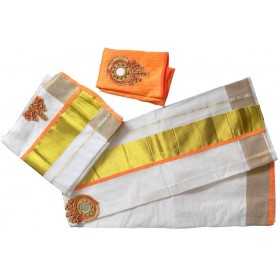 Onam Special Trendy Tissue Kasavu Settu Mundu Blouse