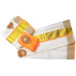 Vishu Special Trendy Tissue Kasavu Settu Mundu Blouse