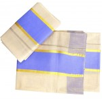 Women's Kerala Tissue Settu Kasavu Mundu With Multi Color