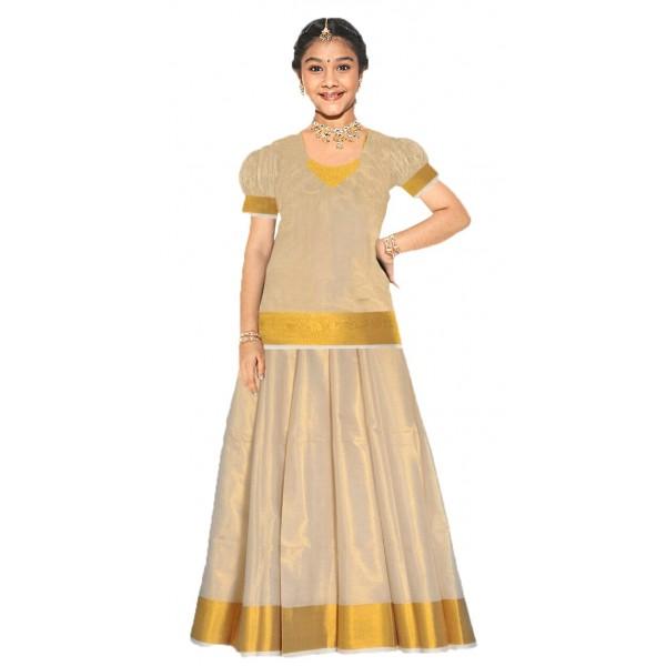 2eab7d89be Purchase Full Tissue Kerala Kasavu Pattu Pavadai